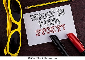 storytelling, 写真, 付せん, を過ぎて, ペーパー, あなたの, 何か, 個人的, ペン, 執筆, メモ, 書かれた, 鉛筆, ビジネス, 提示, question., 物語, 経験, 背景, 言うこと, 木製である, showcasing, ガラス