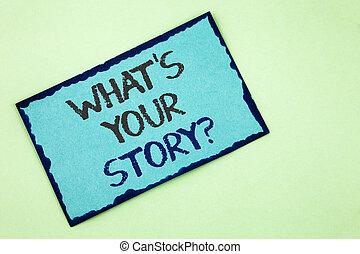 storytelling, 写真, 付せん, を過ぎて, ペーパー, あなたの, 何か, 個人的, 執筆, メモ, バックグラウンド。, 文語のテキスト, 概念, ビジネス, 提示, question., 物語, 手, 経験, 言うこと, 平野