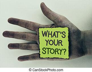 storytelling, 写真, 付せん, を過ぎて, ペーパー, あなたの, 何か, 個人的, 執筆, メモ, バックグラウンド。, 書かれた, ビジネス, 提示, question., 物語, 手, 経験, 言うこと, 平野, 置かれた, 汚い, showcasing