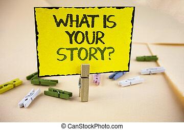 storytelling, 写真, 黄色, 付せん, を過ぎて, ペーパー, あなたの, 何か, 個人的, 執筆, メモ, 書かれた, clips., ビジネス, 提示, question., 物語, 経験, 背景, 言うこと, 木製である, 平野, showcasing