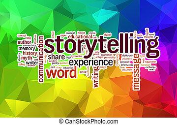 storytelling, begrepp, ord, moln, på, a, låg, poly, bakgrund