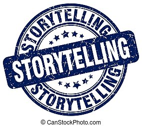 storytelling blue grunge stamp