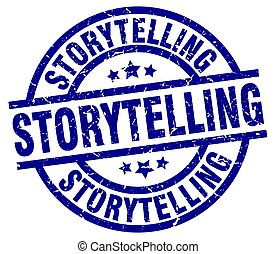storytelling blue round grunge stamp