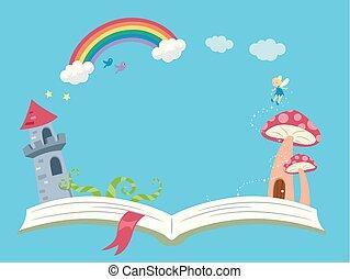 storytelling, fantasie, buch, hintergrund, abbildung