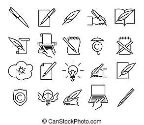 Storytelling icons set - Storytelling icons. Writing and...