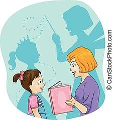 storytelling, illustratie, fantasie, mamma, meisje, geitje