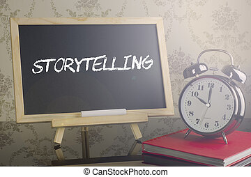 Storytelling on blackboard with flare