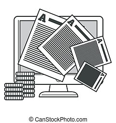 Creative writing and storytelling, copywriting concept, editing text document isolated icon vector. Correct errors on computer and earning money, coins stacks. Proofreading, printed paper sheets