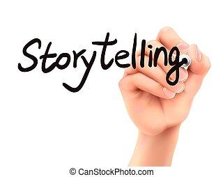 storytelling, ord, skriftligt, av, 3, hand
