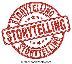 storytelling red grunge stamp