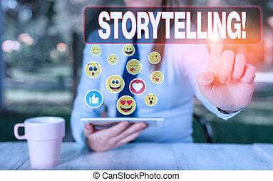 storytelling., signe, photo, projection, public., histoires, les, édition, texte, écriture, conceptuel, activité