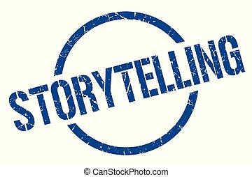 storytelling stamp - storytelling blue round stamp