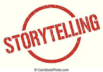 storytelling stamp - storytelling red round stamp