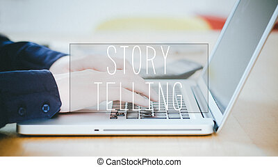 Storytelling, text over young man typing on laptop at desk