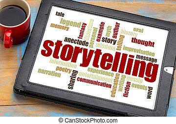 storytelling, woord, wolk, op, tablet
