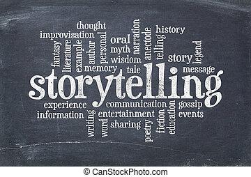 storytelling word cloud on an old slate blackboard with ...