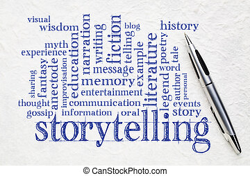 storytelling word cloud on paper - story and storytelling ...