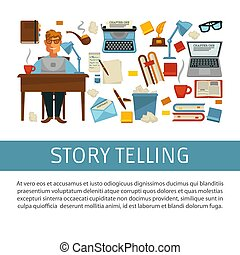 Storytelling writer at desk with laptop literacy creative...