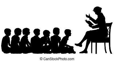 Storytime - EPS8 editable vector silhouettes of a female...