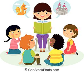 storytime - woman reading a book to young children