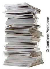 stos, gruby, magazines., stary