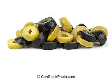 stos, mały, pokrojony, czarne oliwki, zielony