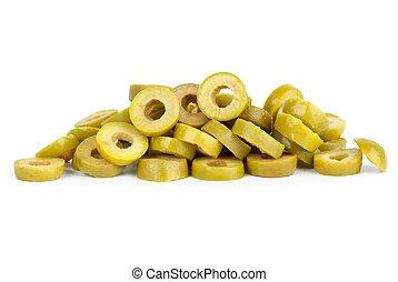 stos, mały, pokrojony, oliwki, zielony