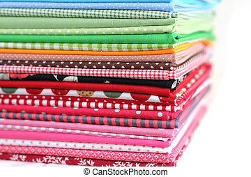 stos, od, barwny, bawełna, tekstylny, tło