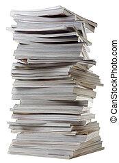 stos, od, stary, gruby, magazines.