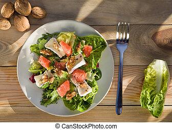 stosowność, śniadanie, świeży, mąka, salad., zdrowy