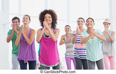 stosowność klasa, i, instruktor, czyn, pilates, ruch