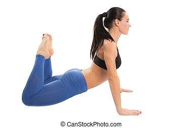 stosowność, kobieta, ustalać, napinać, na, yoga, i, pilates, poza, na białym, tło, przedimek określony przed rzeczownikami, pojęcie, od, sport, i, zdrowie