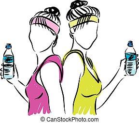 stosowność, kobiety, z, butelka wody