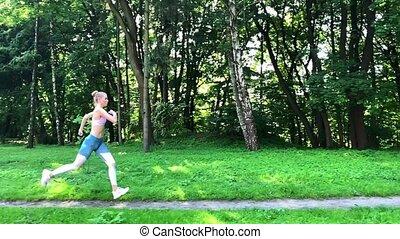 stosowność, młody, wyścigi, las, kobieta, ciągnąć