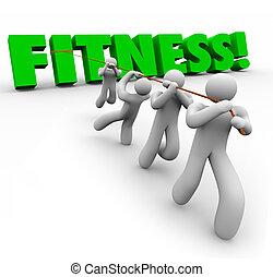 stosowność, słowo, drużyna, wykonując, ciągnący, razem, fizyczny, siła