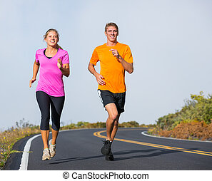 stosowność, sport, para, wyścigi, jogging, zewnątrz