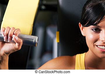 stosowność, trening, w, sala gimnastyczna