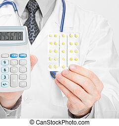 stosunek, doktor, kalkulator, -, 1, siła robocza, pigułki