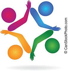 stosunek, logo, teamwork, siła robocza