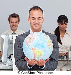 stoutmoedig, directeur, globaal, het glimlachen, uitbreiding