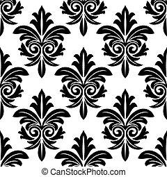 stoutmoedig, foliate, arabesk, motief, in, zwart wit