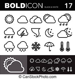 stoutmoedig, lijn, iconen, set.illustration, eps, tien