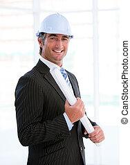 stoutmoedig, mannelijke , architect, verticaal