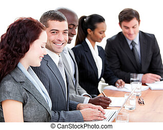stoutmoedig, vergadering, multi-etnisch, zakenlui
