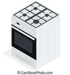 stove., 無料で, イラスト, 等大, ベクトル, 地位, cooker., 平ら, ガス, 3d, 白