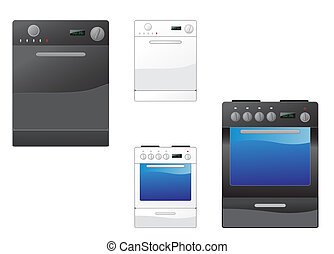 Stove and dishwasher - Modern stove and dishwasher on the...