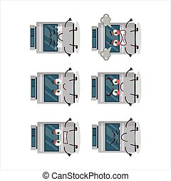 Stove cartoon character with various angry expressions