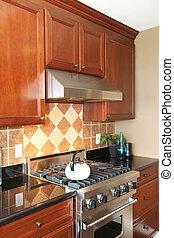 stove., de madera, inoxidable, lujo, robar, cocina