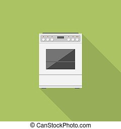 Stove flat vector icon with long shadow.
