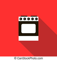 Stove for cooking icon, flat style